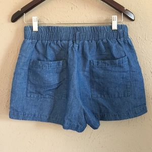 Chambray Pull-on Shorts, M